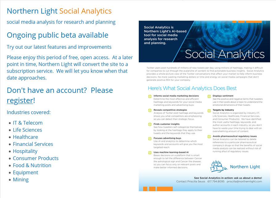 Northern Light Social Analytics Home Screen